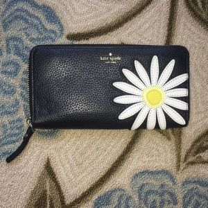 Kate Spade Black Leather Embroidered Daisy Wallet